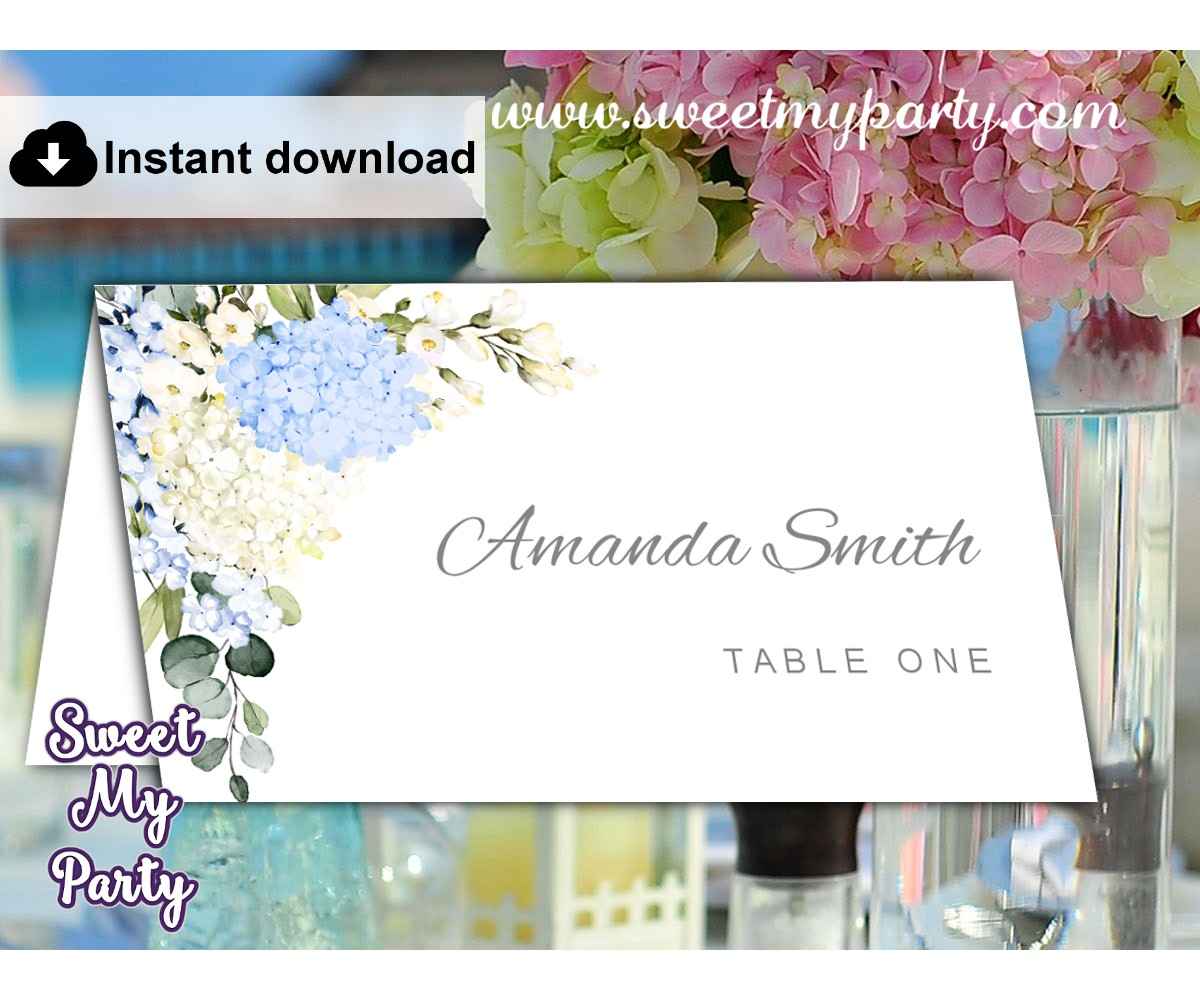 Blue Ivory Hydrangea Escort Cards template,Hydrangea Place Cards template,(139)